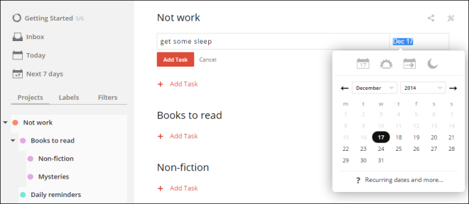 "Adding a task in Todoist is super simple - choose the project list that you wish to add to from the left menu (in this case, ""not work""). For tasks with dates, type in a date or use the popup menu shown here."